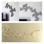 Wanddecoratie van wc rollen en/of koffiefilters (Bron: http://tali-schiffer-oren.blogspot.nl/2010/09/home-work-tp-flower-project.html en http://laurenconrad.com/blog/post/friday-favorites-44)